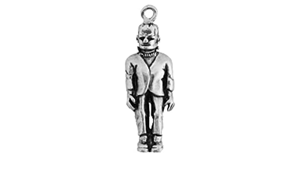 Sterling Silver Girls .8mm Box Chain 3D Standing Frankenstein Pendant Necklace