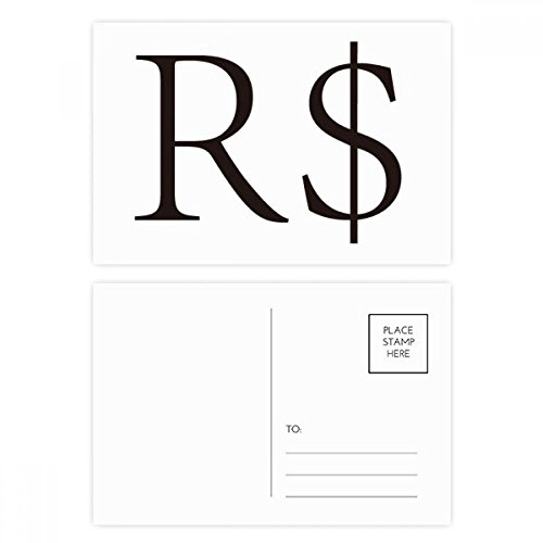 Currency Symbol Brazilian Real Postcard Set Birthday Thanks Card Mailing Side 20pcs