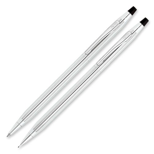 Lustrous Chrome Mechanical Pencil - Wholesale CASE of 5 - Cross Lustrous Ballpoint Pen/Pencil Sets-Ballpoint Pen/Pencil Set, .7mm, Chrome Barrel