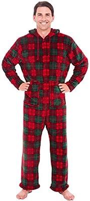 Alexander Del Rossa Mens Warm Fleece One Piece Footed Pajamas Adult Onesie with Hood
