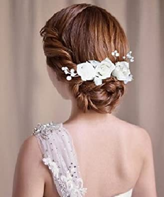 Fermaglio Per Capelli Con Fiore Capelli Fiore Matrimonio Sposa Tiara perla  strass capelli gesteck Diadem sposa accessori per capelli 9c7672f6b6d8