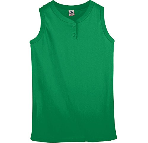 (Augusta Sportswear WOMEN'S SLEEVELESS TWO-BUTTON SOFTBALL JERSEY L Kelly)