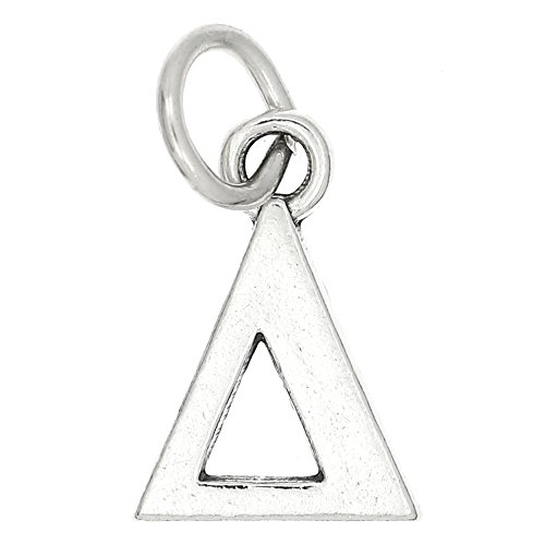Lgu Sterling Silver Oxidized Greek Sorority Letters Charm - Letter Sterling Oxidized Silver