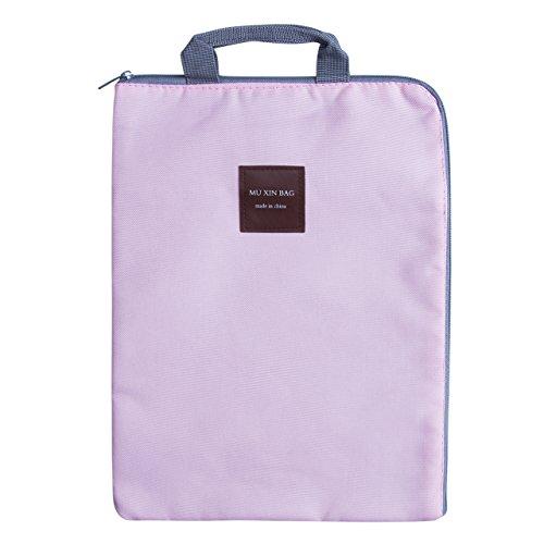 Waterproof File Holder Document Organizer Large Capacity Zipper Envelope Portfolio File Bag Laptop Tablet iPad Document Folder Student Gift A4 Size (Pink) (Pink Zipper Portfolio)