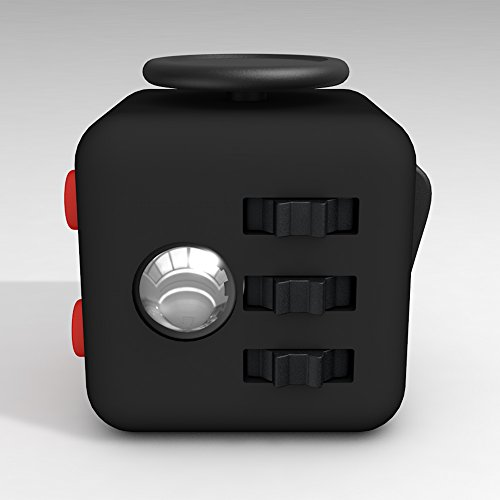 LEDeng Fidget Toys Cube Relieves Stress and Anxiety Attention Toy for Work, Class, Home (Black Red) -