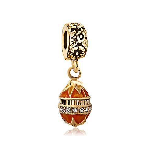 Roy Lopez Golden Faberge Egg Dangle Bead Charms for Charm Bracelets for Women