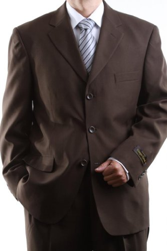Men's Single Breasted Three Button Brown Dress Suit 40L