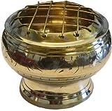 Raven Blackwood Imports Incense Burner Brass Etched Wire Kriss Cross Lid Detachable Smudging Use Meditation Tool 2''