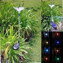 2 Pack Stainless Steel Butterfly Color Changing Solar Light