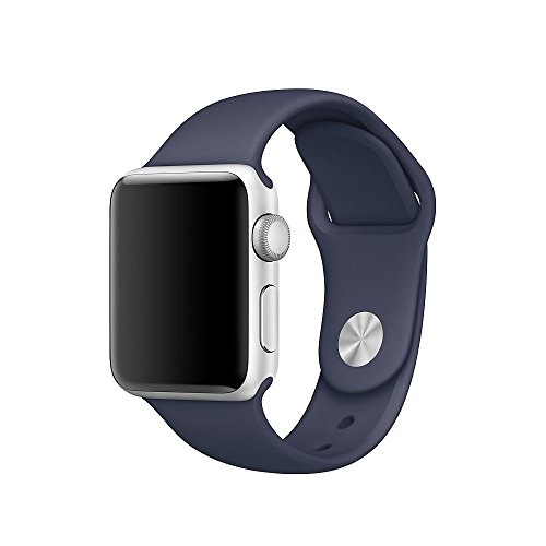 Icesnail CHARLOTTE010 Silicone Soft Replacement Bands for All Apple Watch Models, 42mm, Midnight Blue, 3 Pieces