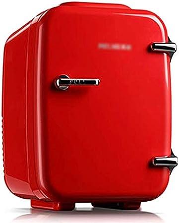 Mini Refrigerador Retro del Coche Nevera Pequeña de 4L para Dormitorio Congelador Silencioso Compacto Enfriador Y Calentador Portátil Nevera de Frutas Roja AC/DC para el Hogar Al Aire Libre