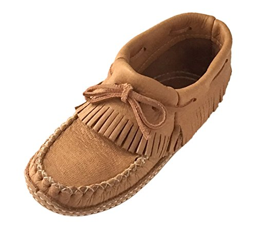 Bastien Industries Women's Fringed Moose Hide Leather Moccasins (7)