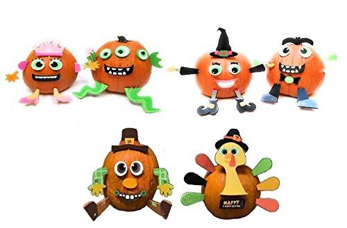 American Oak Pumpkin Decorating Kit Push in No Carve DIY Fall Halloween Thanksgiving for Large Pumpkins (Set of 6)