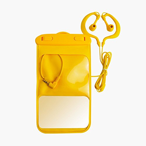 IPX8 Waterproof Headphones Earbuds with Waterproof Bag for Swimming - Waterproof and Sweatproof Headsets Design for Running Swimming Bathing Surfing Skiing(HYC-018 Yellow)