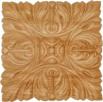 Veneered Oak Acantus Decorative Ornament Square Applique - 5