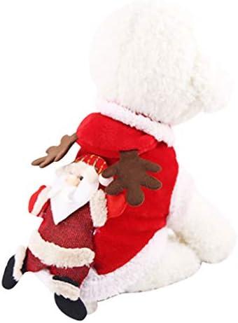 DSDecor - Disfraz de Papá Noel para perros de Navidad, ropa de invierno para perros pequeños 7
