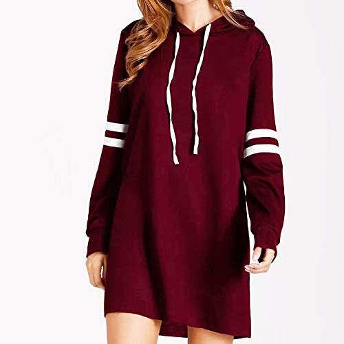 GOVOW Winter Pullover Dresses for Women Fashion New Long Sleeve Hoodie Long Sweatshirt Jumper(US:4/CN:S,Wine)