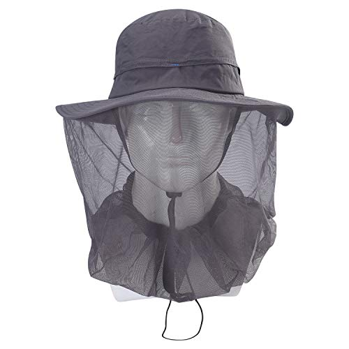 BINMEFVN Mosquito Head Net Hat - UPF 50+ Sun Hat with Mesh Face Neck Mask Protection from Insect Bug Bee Gnats for Fishing Hiking Gardening (Mosquito Hunting Net)