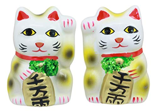 Ebros Japanese Luck and Fortune Charm White Beckoning Cat Maneki Neko Ceramic Figurines Set of 2 with Right and Left Paws Feng Shui Lucky Energy Cats Collectible Statues