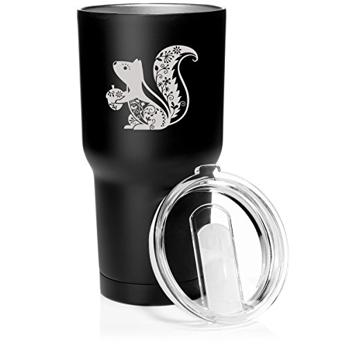30 oz. Tumbler Stainless Steel Vacuum Insulated Travel Mug Fancy Squirrel (Matte Black)