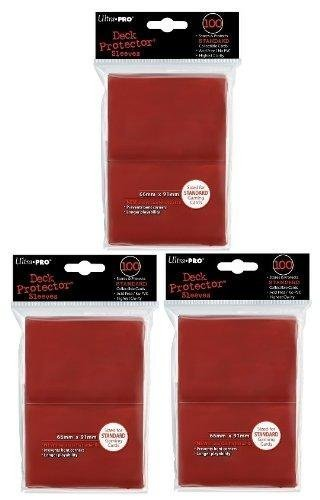 Ultra Pro Card Supplies STANDARD Card Sleeves Lot of 3 Pack Red [300 Sleeves] by Wowzzer