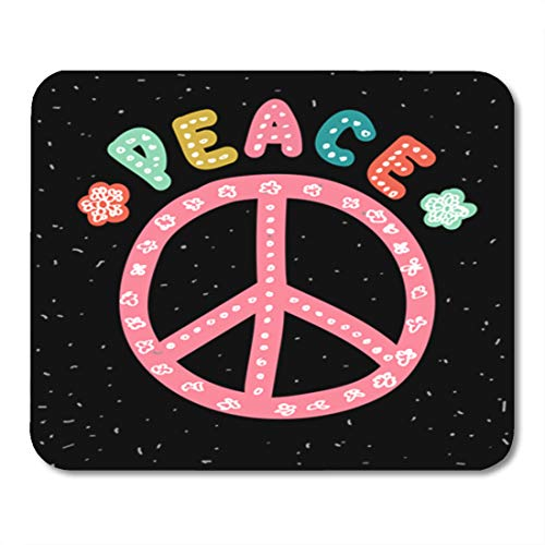 Semtomn Gaming Mouse Pad Peace Sign Hand Lettering Flowers and Anti War Symbol 9.5