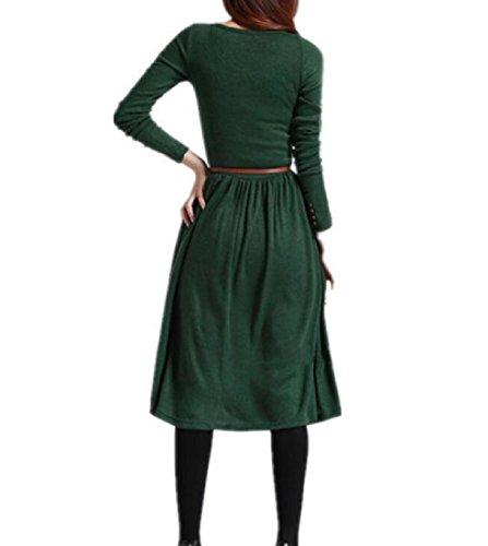 Solido Donne Lunga Del Club Comodi Affari Manica Bodycon Da Verde Vestito Tasto Nerastro Delle x8tnS