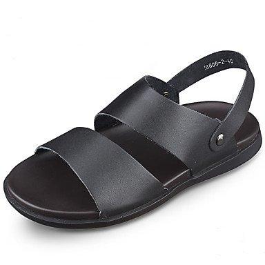 SHOES-XJIH&Scarpe da uomo di vacchetta sandali Casual/pantofole & flip-flops CasualSandals HeelStitching piatta /piattina intrecciata/Split,marrone,noi6-6.5 / EU38 / UK5-5.5 / CN38