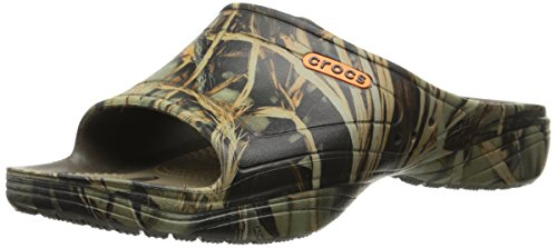 Crocs Men's MODI 2.0 Realtree Max-4 Slide,Chocolate/Khaki,US 8 - Leather Croc Pattern