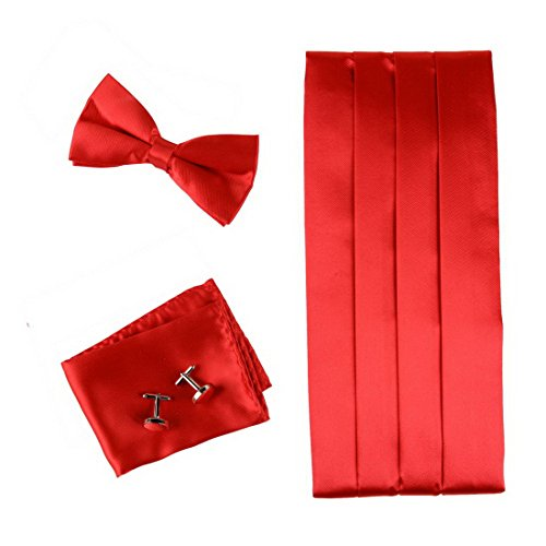 RED+Formal+Pre-tied+Bow+Tie+Hanky+Cufflinks+and+Cummerbund+Set+with+Gift+Box+Cm1016++Red