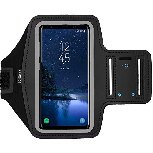 (i2 Gear Cell Phone Armband for Running - Workout Phone Holder with Adjustable Arm Band and Reflective Border - Armband Case for Samsung Galaxy S9, S8, S7, S6, Edge, Active and iPhone X, XS (Black))