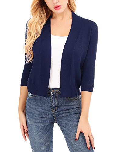 Uniboutique Retro Cropped Light Cardigans Bolero Shrugs for Women Casual Plain Style (Sleeve Cardigan V-neck 3/4)