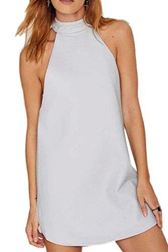Damen elegante PU Neckholder rückenfreie unregelmäßige Tunika-Kleid
