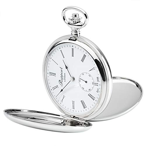 Vintage Pocket Watch with Chain by Rapport - Classic Oxford Hunter Case Pocket Watch with Sub-Seconds - Silver from Rapport