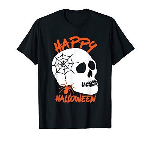 Happy Halloween Human Skull and Spider Web