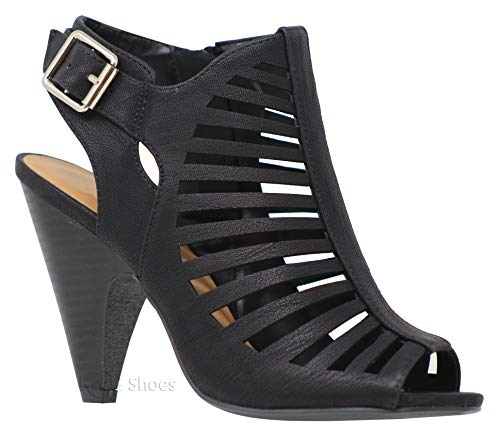 MVE Shoes Women's Chunky Heel Open Toe Back Zipper Heeled Sandal, Black Size 10 ()