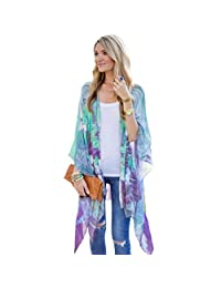 Franterd Womens Tops Casual Print Kimono Loose Cardigan Chiffon Cover up Blouse