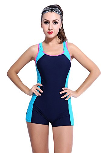 Women's Slimming One Piece Boxer Boyleg Swimsuit Cross Back Halterneck Athletic Swimwear Tankini (US 8, Navy Blue)