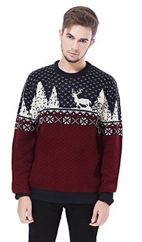 V28 Men's Christmas Reindeer Snowman Penguin Santa and Snowflake Sweater (Large, ReindeerFS) -