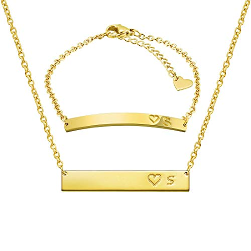 THREE KEYS JEWELRY Initial S Necklace Alphabet Bracelet Suit 316L Stainless Steel Gold Tone Bar Pendant Heart with Chocker Letter Jewelry for Women Men and Girls ST-G-S ()