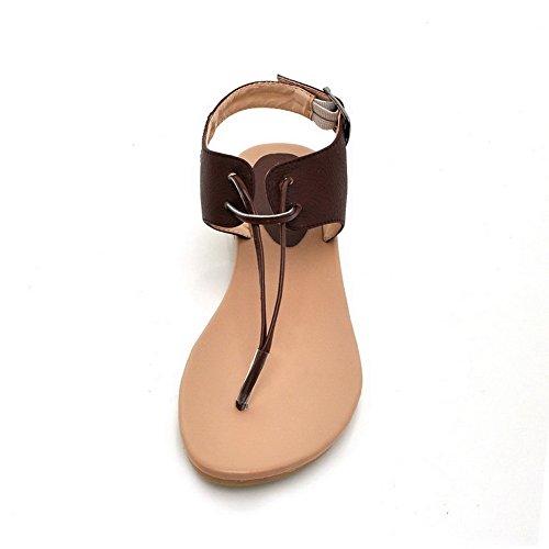 Womens Heels Soft Split Toe Solid Low 1cm Materials Sandals AalarDom Brown Buckle O6wTqdO