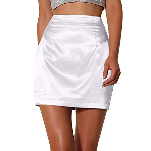 nikunLONG Women Ladies Fashion Solid Sexy Satin Smooth Zipper Skirt Summer Party Club Skirt Dress White