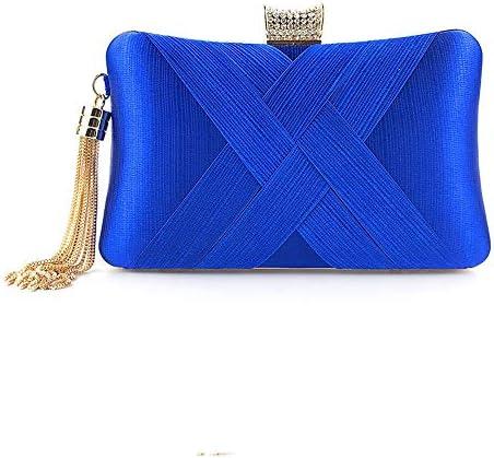 ハンドバッグ - 女性のヨーロッパやアメリカのファッションシルクハンドバッグ財布、さまざまな色、12センチメートル* 19センチメートル* 5.5センチメートル よくできた (Color : Blue)