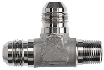 """Brennan 2605-04-04-04-SS, Stainless Steel JIC Tube Fitting, 04MJ-04MP-04MJ Tee, 1/4"""" TubeOD x 1/4"""" Tube OD x 1/4-18 NPTF Male"""