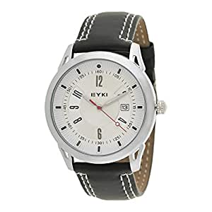 Eyki Men's White Dial Leather Band Watch - EET8756L-S0102