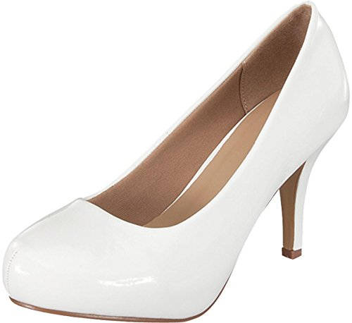 - Cambridge Select Women's Classic Round Toe Mid Heel Dress Pump (7.5 B(M) US, White Patent)