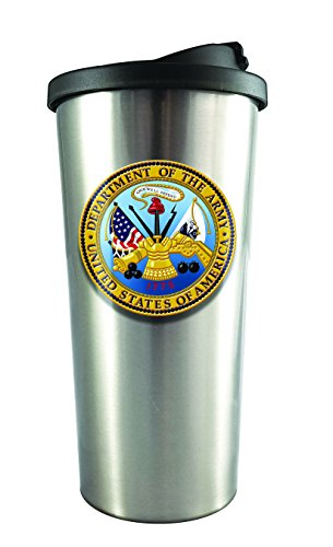 Spoontiques 20832 U.S. Army Stainless Steel Travel Mug, Silver