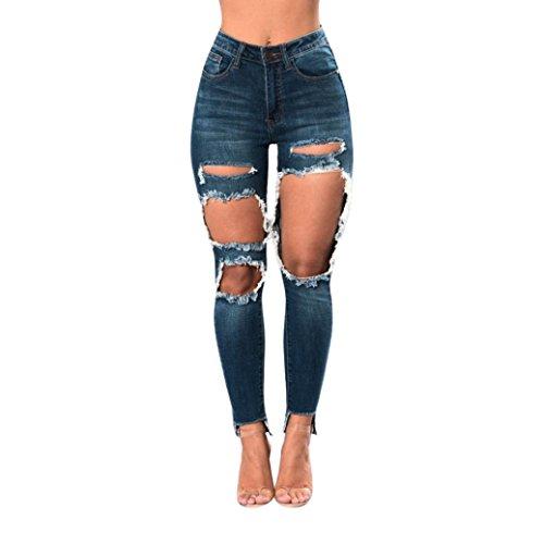 ADESHOP Mode Jeans Femmes Taille Haute Jeans Trou Denim Stretchy Skinny Slim Pantalon Femmes Grotte GAnte IrrGulier Lasticit Casual Chic Denim Pants Bleu