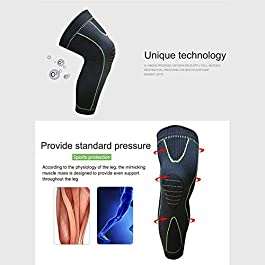 Bufccy Full Leg Compression Sleeve for Women Men Stretch Long Leg Sleeve for Running Basketball Football Cycling 1 Pcs Medium