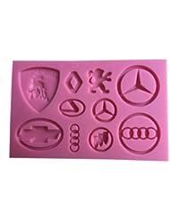 Major Car Brand Logos Silicone Mold (Chevy, Lexus, Mercedes, BMW, Porsche, Ferrari, Infiniti) - Decorating Molds from Bakell (Fondant, Candy, Ice Tray, Chocolate, Gumpaste)